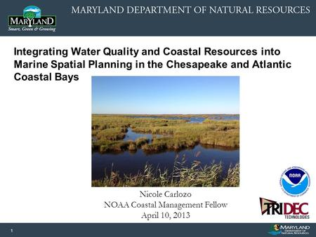 1 Nicole Carlozo NOAA Coastal Management Fellow April 10, 2013 Integrating Water Quality and Coastal Resources into Marine Spatial Planning in the Chesapeake.