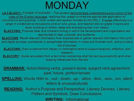 MONDAY LA.5.ELA5C1: POWER STANDARD - The student demonstrates understanding and control of the rules of the English language, realizing that usage involves.