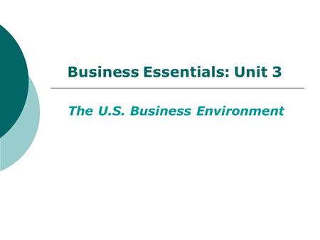 Business Essentials: Unit 3 The U.S. Business Environment.