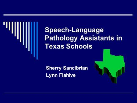 Speech-Language Pathology Assistants in Texas Schools Sherry Sancibrian Lynn Flahive.