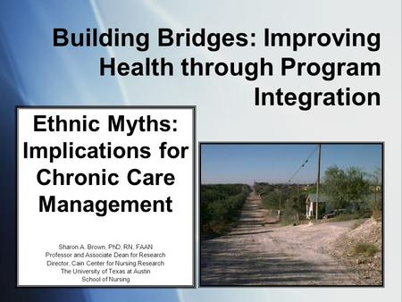 Building Bridges: Improving Health through Program Integration Ethnic Myths: Implications for Chronic Care Management Sharon A. Brown, PhD, RN, FAAN Professor.