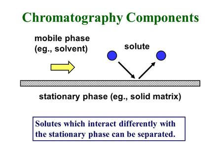 Chromatography Components stationary phase (eg., solid matrix) mobile phase (eg., solvent) solute Solutes which interact differently with the stationary.