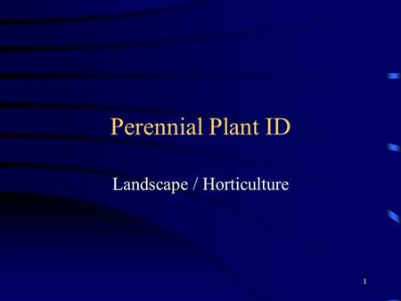 1 Perennial Plant ID Landscape / Horticulture. 2 Purple Coneflower Attention getting flowers, attracts birds and butterflies. Grows 2-3 ft high. Blooms.