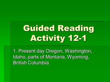 Guided Reading Activity 12-1