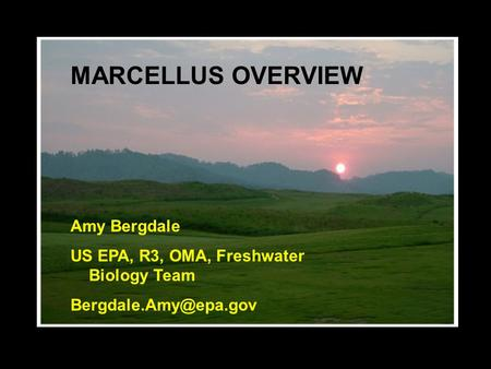 MARCELLUS OVERVIEW Amy Bergdale US EPA, R3, OMA, Freshwater Biology Team