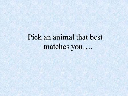 Pick an animal that best matches you….. Do you have an animal in mind?