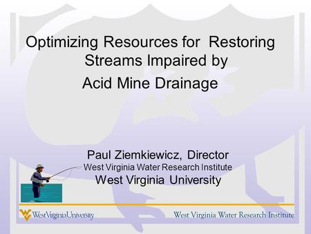 Optimizing Resources for Restoring Streams Impaired by Acid Mine Drainage Paul Ziemkiewicz, Director West Virginia Water Research Institute West Virginia.