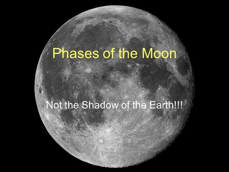 Phases of the Moon Not the Shadow of the Earth!!!.