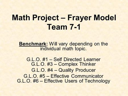 Math Project – Frayer Model Team 7-1