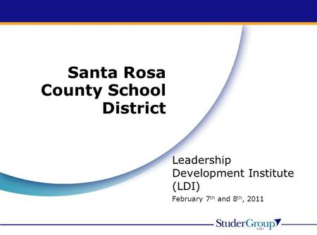 Santa Rosa County School District Leadership Development Institute (LDI) February 7 th and 8 th, 2011.