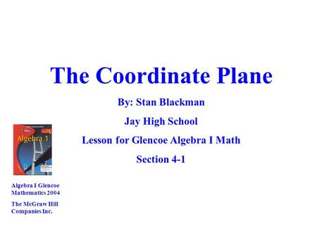 Lesson for Glencoe Algebra I Math