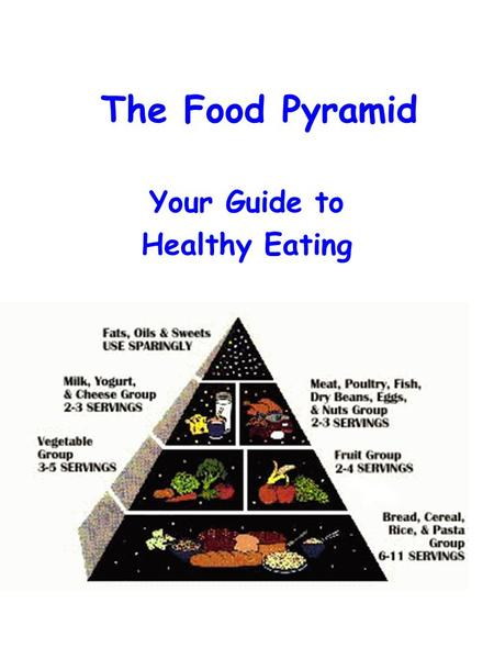 The Food Pyramid Your Guide to Healthy Eating. Bread, Cereal, Rice, and Pasta Group 6 to 11 servings.