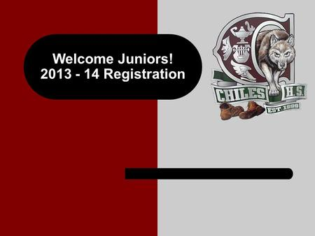 Welcome Juniors! 2013 - 14 Registration. Graduation Requirements English – 4 credits Math – 4 credits (including Algebra I and Geometry) Science – 3 credits.