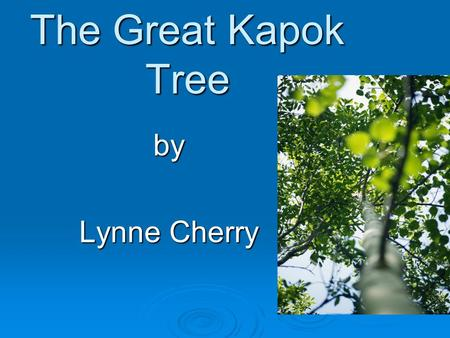 The Great Kapok Tree by Lynne Cherry. Vocabulary Vocabulary.