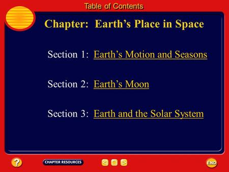 Chapter: Earths Place in Space Table of Contents Section 3: Earth and the Solar SystemEarth and the Solar System Section 1: Earths Motion and Seasons.