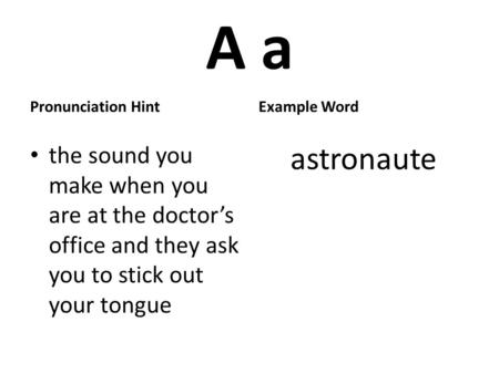 A a Pronunciation Hint the sound you make when you are at the doctors office and they ask you to stick out your tongue Example Word astronaute.