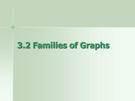 3.2 Families of Graphs. Family of graphs – a group of graphs that displays one or more similar characteristics Parent graph – basic graph that is transformed.