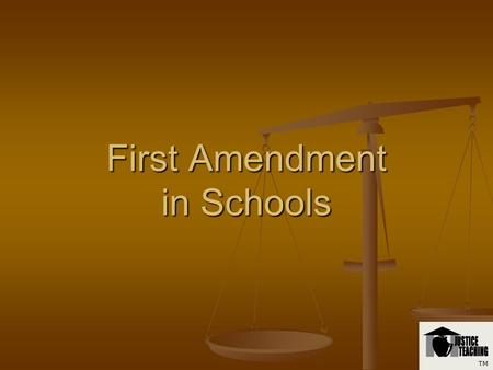 First Amendment in Schools TM First Amendment Congress shall make no law respecting an establishment of religion, or prohibiting the free exercise thereof;