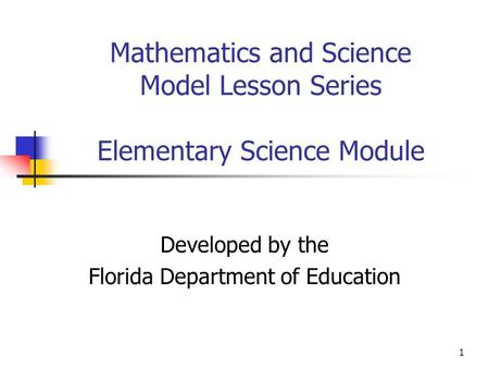 1 Mathematics and Science Model Lesson Series Elementary Science Module Developed by the Florida Department of Education.
