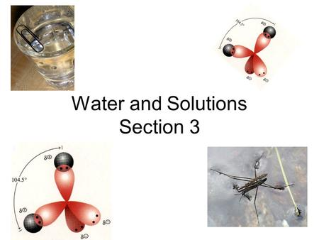 Water and Solutions Section 3 Section 3 vocabulary ( 9 words) 1.polar molecules, 2.hydrogen bond, 3.mixture, 4.solvent, 5.solute, 6.acids, 7.bases, 8.pH,
