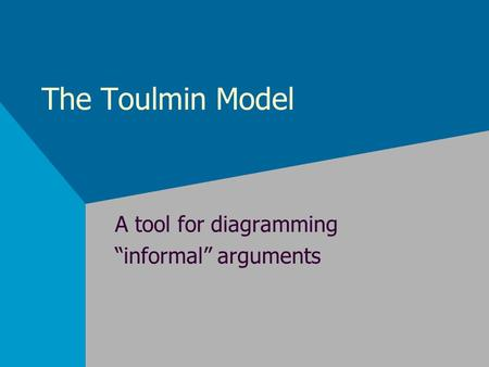 The Toulmin Model A tool for diagramming informal arguments.