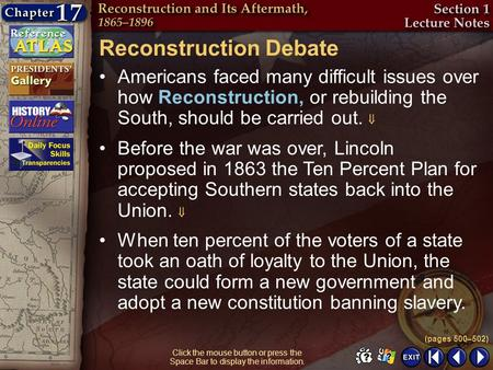 Section 1-5 Click the mouse button or press the Space Bar to display the information. Reconstruction Debate Americans faced many difficult issues over.