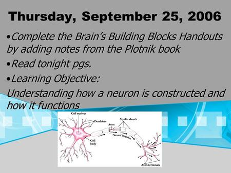 Thursday, September 25, 2006 Complete the Brains Building Blocks Handouts by adding notes from the Plotnik bookComplete the Brains Building Blocks Handouts.