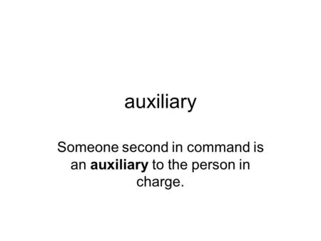 Auxiliary Someone second in command is an auxiliary to the person in charge.