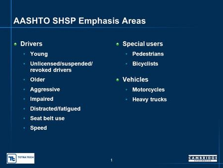 Oklahoma Strategic Highway Safety Plan – Expanded Background Data presented to SHSP Leadership Group SHSP Working Group presented by Sam Lawton, Cambridge.