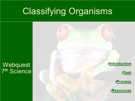 Classifying Organisms Webquest 7 th Science Introduction Task Process Resources.