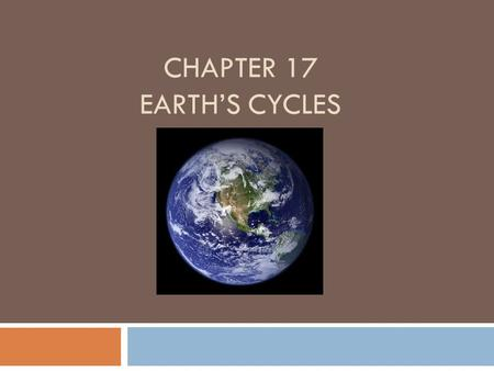CHAPTER 17 EARTHS CYCLES. Lesson 1 – How does Earth move? Earth spins like a top as it circles around and around the Sun. Earth is tipped to one side.