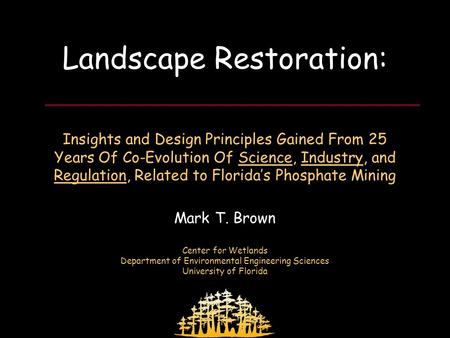 FIPR Restoration Workshop April 3, 2008 Landscape Restoration: Insights and Design Principles Gained From 25 Years Of Co-Evolution Of Science, Industry,