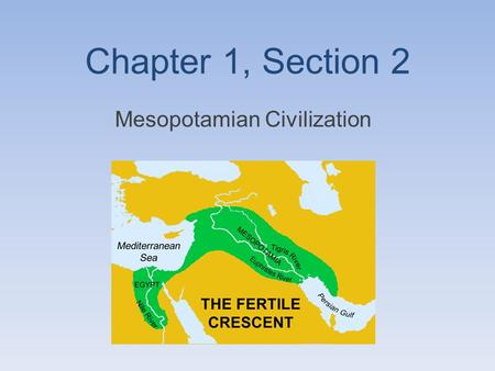 Chapter 1, Section 2 Mesopotamian Civilization. Mesopotamias Civilization Over thousands of years, some of the early farming villages developed into civilizations.