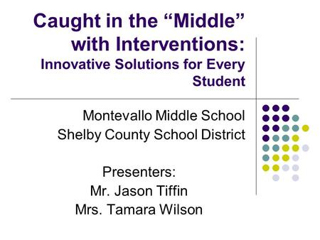 Caught in the Middle with Interventions: Innovative Solutions for Every Student Montevallo Middle School Shelby County School District Presenters: Mr.
