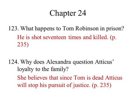 Chapter What happens to Tom Robinson in prison?