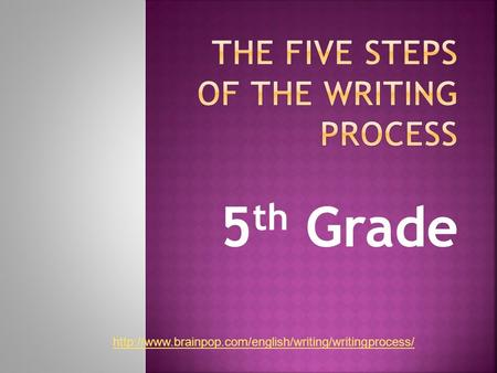 THE FIVE STEPS OF THE WRITING PROCESS