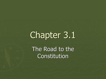 The Road to the Constitution