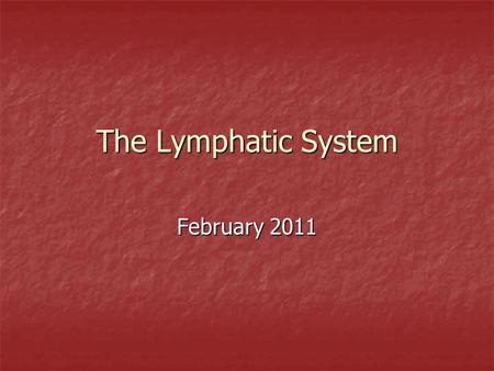 The Lymphatic System February 2011. Functions drains and filters protein containing fluids from tissue which has escaped from blood capillaries drains.