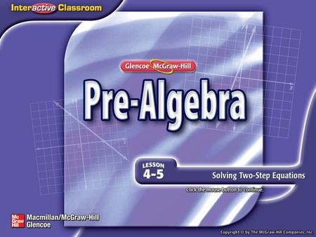 Splash Screen. Lesson Menu Five-Minute Check (over Lesson 4–4) Then/Now New Vocabulary Example 1:Solve a Two-Step Equation Example 2:Solve a Two-Step.