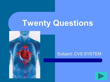 Twenty Questions Subject: CVS SYSTEM Twenty Questions 12345 678910 1112131415 1617181920.