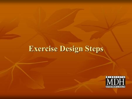 Exercise Design Steps.