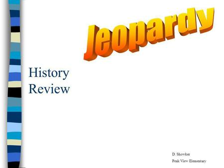 History Review D. Showker Peak View Elementary SOL History Jeopardy Map Parts More Map Locations Q $100 Q $200 Q $300 Q $400 Q $500 Q $100 Q $200 Q $300.