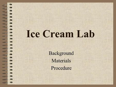 Ice Cream Lab Background Materials Procedure Matter What is matter? Anything that has mass and takes up space What are the three main states (or phases)
