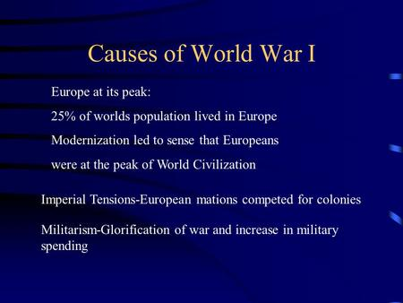 Causes of World War I Europe at its peak: 25% of worlds population lived in Europe Modernization led to sense that Europeans were at the peak of World.