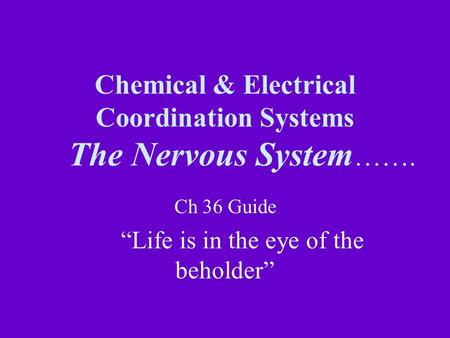 Chemical & Electrical Coordination Systems The Nervous System ……. Ch 36 Guide Life is in the eye of the beholder.