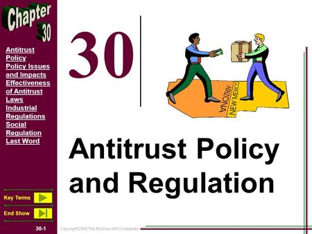 Copyright 2008 The McGraw-Hill Companies 30-1 Antitrust Policy Policy Issues and Impacts Effectiveness of Antitrust Laws Industrial Regulations Social.