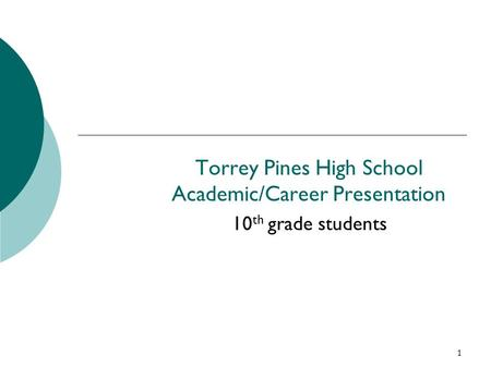 1 Torrey Pines High School Academic/Career Presentation 10 th grade students.