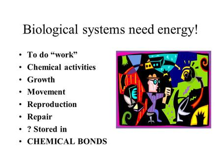 Biological systems need energy! To do work Chemical activities Growth Movement Reproduction Repair ? Stored in CHEMICAL BONDS.