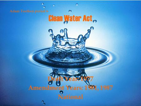Clean Water Act Draft Year: 1977 Amendment Years: 1981, 1987 National Adam Tuetken period 6.