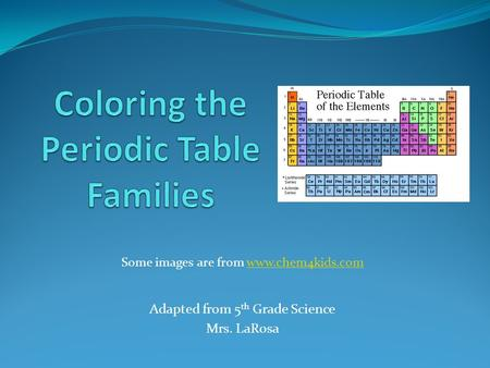 Some images are from www.chem4kids.comwww.chem4kids.com Adapted from 5 th Grade Science Mrs. LaRosa.